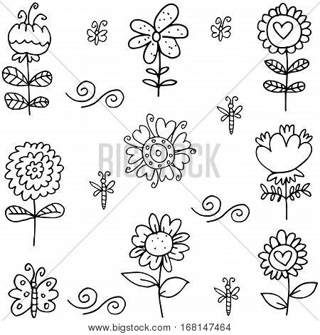 Doodle of flower set vector art collection stock
