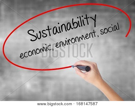 Woman Hand Writing Sustainability  Economic, Environment, Social With Black Marker Over Transparent