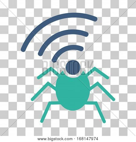 Radio Spy Bug icon. Vector illustration style is flat iconic bicolor symbol, cobalt and cyan colors, transparent background. Designed for web and software interfaces.