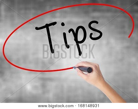 Man Hand Writing Tips With Black Marker On Visual Screen
