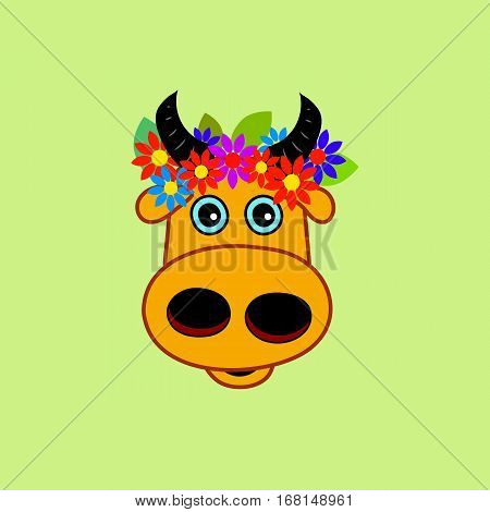 Head cartoon cow with wreath of flowers. Vector illustration.