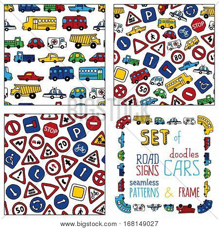 Vector Set Of Doodles Road Signs And Cars.