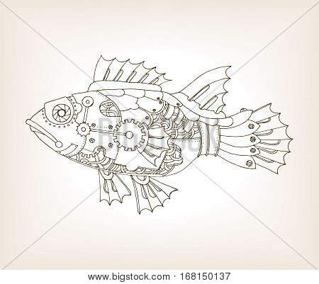 Ancient draft of mechanical fish. Mechanical animal. Coloring book vector illustration.