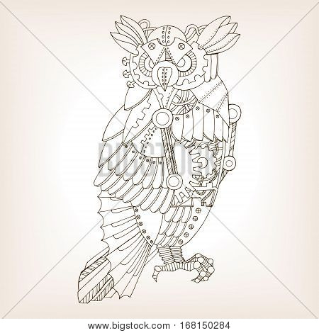 Ancient draft of mechanical owl. Mechanical animal. Coloring book vector illustration.