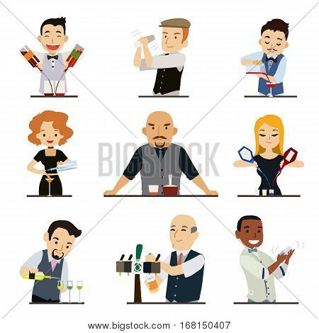 Set of cartoon characters bartender isolated on white background. Vector illustration