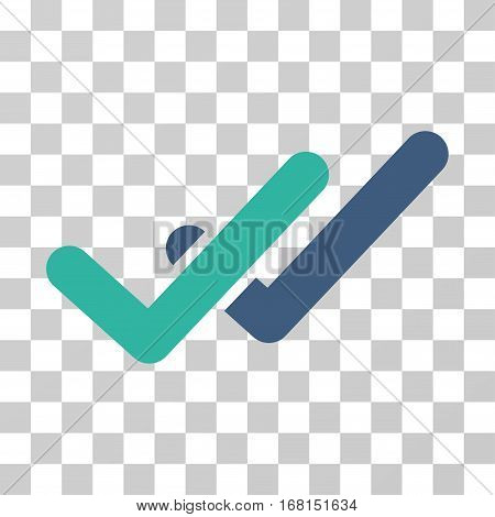 Validation icon. Vector illustration style is flat iconic bicolor symbol, cobalt and cyan colors, transparent background. Designed for web and software interfaces.