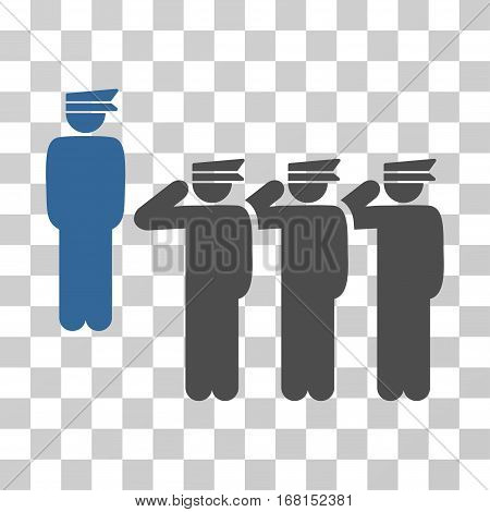 Army icon. Vector illustration style is flat iconic bicolor symbol, cobalt and gray colors, transparent background. Designed for web and software interfaces.