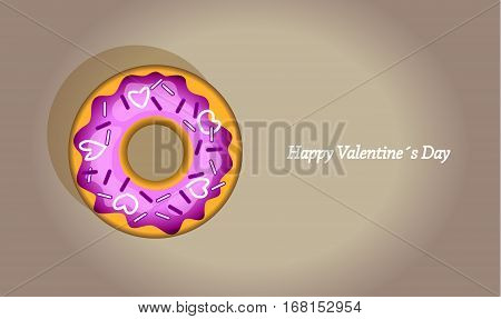 Vector donut with sweet hearts. Valentine day background.
