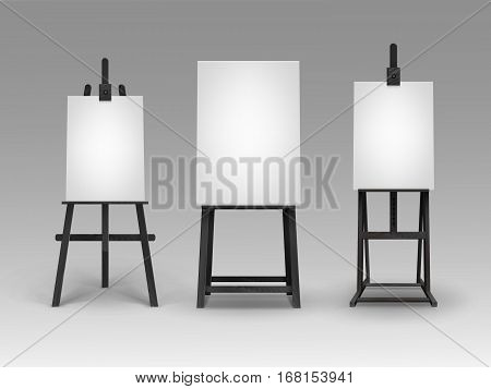 Vector Set of Black Wooden Easels with Mock Up Empty Blank Vertical Canvases Isolated on Background