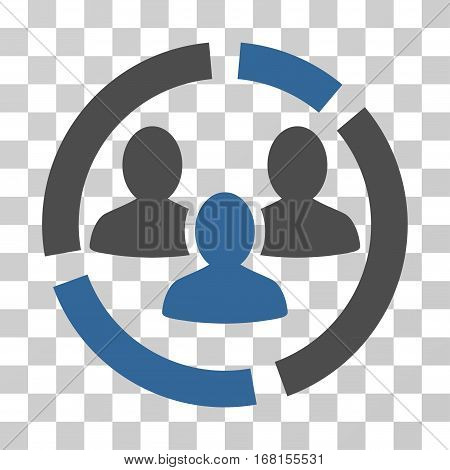 Demography Diagram icon. Vector illustration style is flat iconic bicolor symbol, cobalt and gray colors, transparent background. Designed for web and software interfaces.