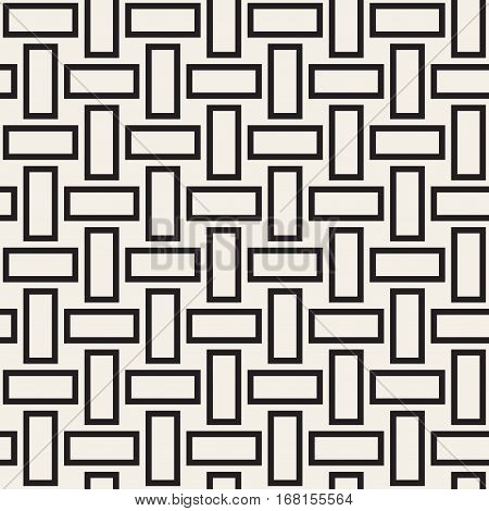 Trendy monochrome twill weave.. Abstract Geometric Background Design. Vector Seamless Black and White Pattern.