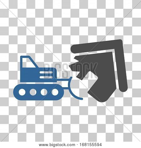 Demolition icon. Vector illustration style is flat iconic bicolor symbol, cobalt and gray colors, transparent background. Designed for web and software interfaces.
