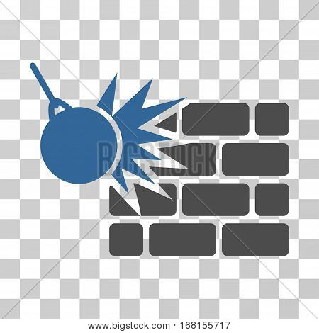 Destruction icon. Vector illustration style is flat iconic bicolor symbol, cobalt and gray colors, transparent background. Designed for web and software interfaces.