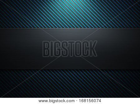 Abstract modern carbon fiber with polish metal plate on center texture material design for background, graphic design