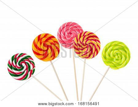 Colorful Lollipops Isolated On White Background.