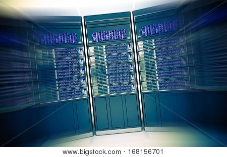 Dedicated Hosting Concept 3D Rendered Illustration. Hosting Server Machines in Motion Blur.