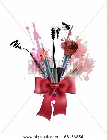 Cosmetics and fashion background with make up artist objects: lipstick mascara eyeliner. With place for your text. Template Vector.