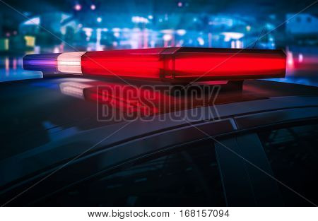 Police Car Flashing Roof Lights at Night 3D Render Illustration.