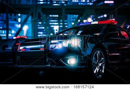 Police Interceptor Vehicle. Police Action 3D Rendered Illustration.