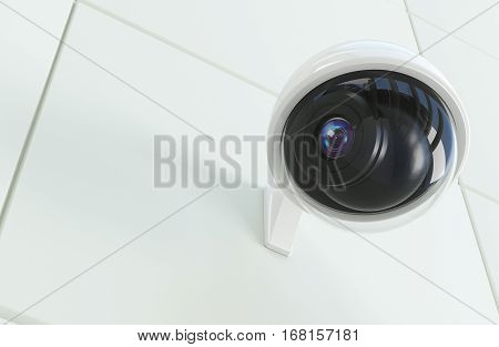 Weather Proof Security Surveillance Camera 3D Illustration. CCTV Concept.