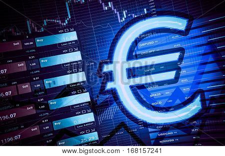Trading Euro Currency Forex Concept 3D Illustration. poster