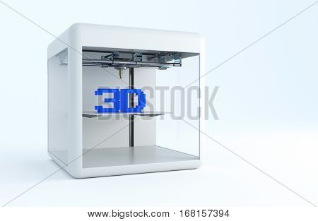 Modern 3D Printer 3D Rendered Illustration. Printing in Three Dimensions Technologies Concept.