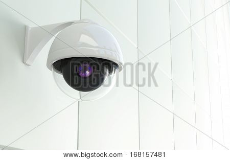 Modern CCTV Network Camera Mounted to the White Modern Wall. Closed Circuit Television Theme. 3D Rendered Illustration.