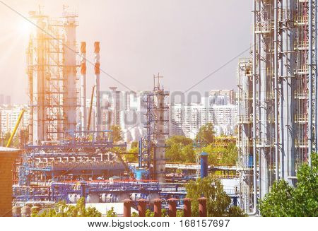 Close up of Moscow oil refinery in Kapotnya district with heat haze optical effect