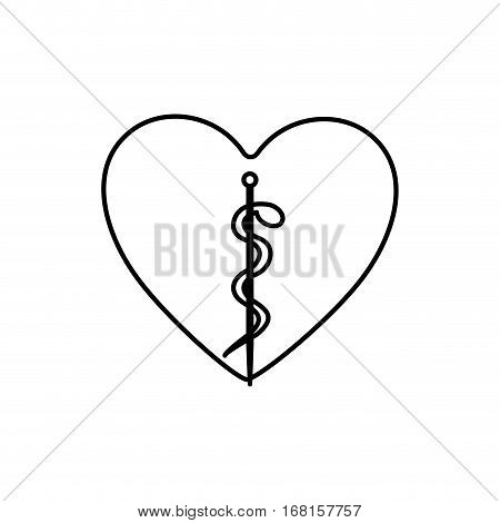 monochrome contour with health symbol with serpent entwined inside of heart vector illustration