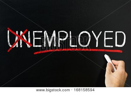 Changing Word Unemployed Into Employed By Crossing Off Letters Un. Job And Employment Concept
