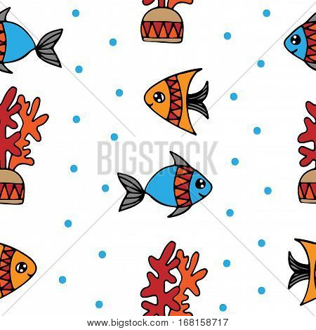 Seamless pattern with fish and coral on the white background. Can be used for printing on fabric for wrapping paper and for the background of the site.