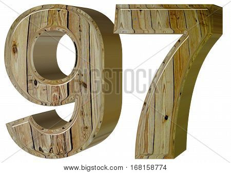 Numeral 97, Ninety Seven, Isolated On White Background, 3D Rende