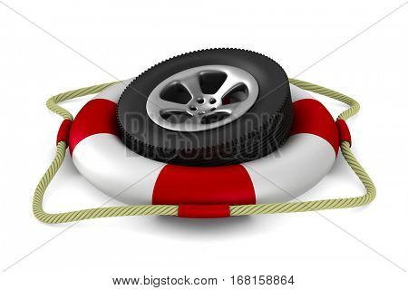 Disk wheel into lifebuoy on white background. Isolated 3D image