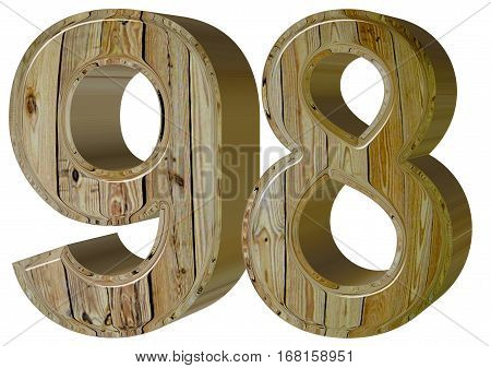 Numeral 98, Ninety Eight, Isolated On White Background, 3D Rende