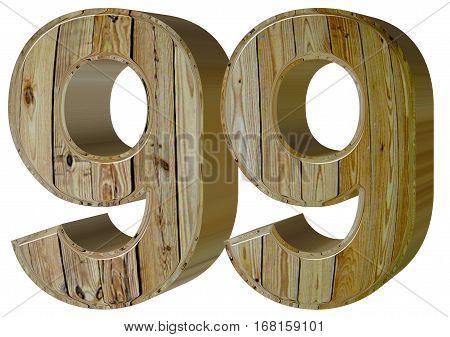 Numeral 99, Ninety Nine, Isolated On White Background, 3D Render