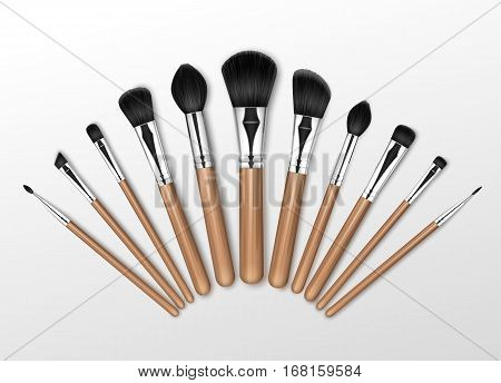 Vector Set of Black Clean Professional Makeup Concealer Powder Blush Eye Shadow Brow Brushes with Wooden Handles Isolated on White Background