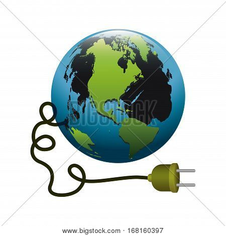 colorful silhouette with world and power cord with stain petroleum vector illustration