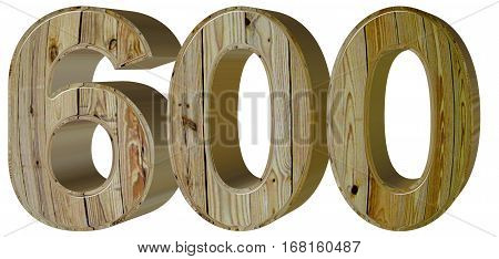 Numeral 600, Six Hundred, Isolated On White Background, 3D Rende