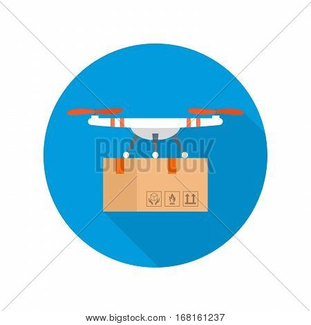 Drone delivery concept vector icon with shadow