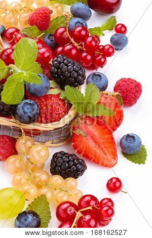 Fresh Fruits With Leaves.