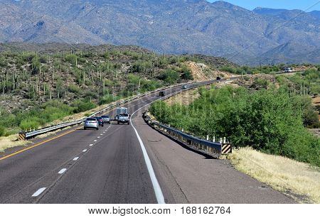 Arizona USA - july 7 2016 : the interstate 17 between Phoenix and Flagstaff