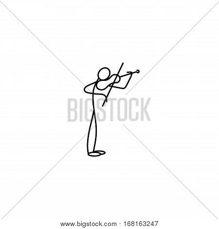Cartoon icon of sketch stick musician figure vector in cute miniature scenes.
