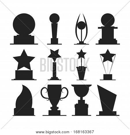 Trophies cups and challenge prizes icons collection against Award sport Symbol of competition reward and champion best - vector