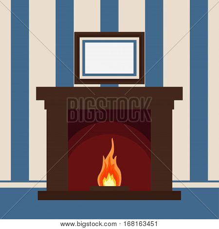 Fireplace on the wall with the picture Christmas hearth - vector