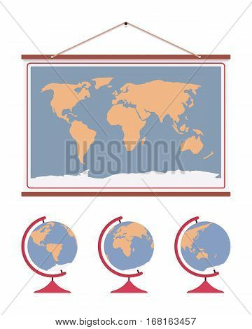 Hanging world map, decoration to accent office or home walls, poster for educational purpose at school class for geographers, flat representation of the surface of the Earth, travelling guide
