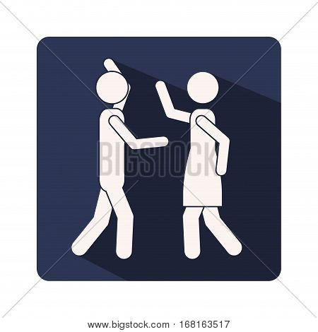 color silhouette frame with couple fighting vector illustration