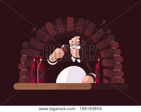 Sommelier tasting dry red wine in cellar. Vector ilustration flat