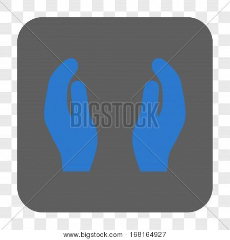 Applause Hands interface toolbar button. Vector icon style is a flat symbol inside a rounded square button blue and gray colors chess transparent background.