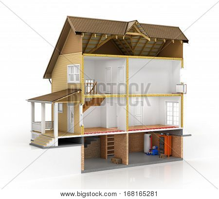 Concept of design. Sliced house with isolated layers of heating on the white background. 3d illustration