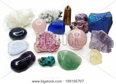 amethyst quartz avanturine sodalite garnet semigem crystals geological mineral isolated